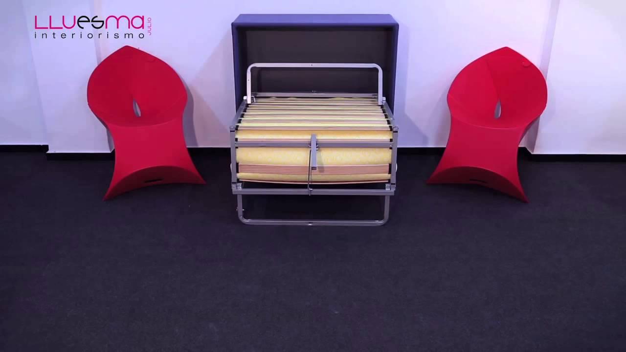Mueble cama plegable tapizado de f cil apertura entrega for Mueble cama plegable conforama