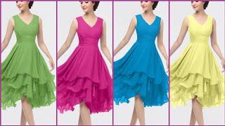 Gorgeous And Fabulous Stylish Chiffon ALine /Midi /Knee Length Dress Design