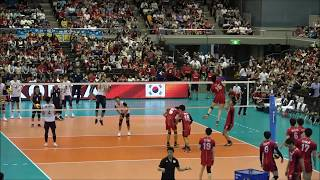 Yuki Ishikawa, Yuji Nishida Spike warm up at  INTERNATIONAL FRIENDLY MATCH 2018 JAPAN vs KOREA