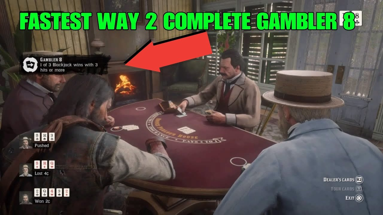 RED DEAD REDEMPTION 2 FASTEST WAY TO HIT 3 TIMES IN BLACKJACK AND WIN (GAMBLER CHALLENGE 8)
