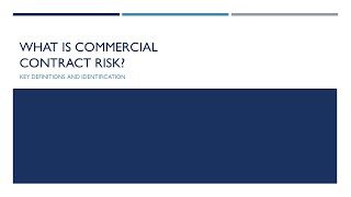 Intro to Commercial Contract Risk