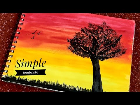 Watercolor painting for beginners | Simple Landscape | Kripa Kumaraswamy