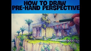 How to draw pre-hand perspective:  container van home + Rendering for beginners.