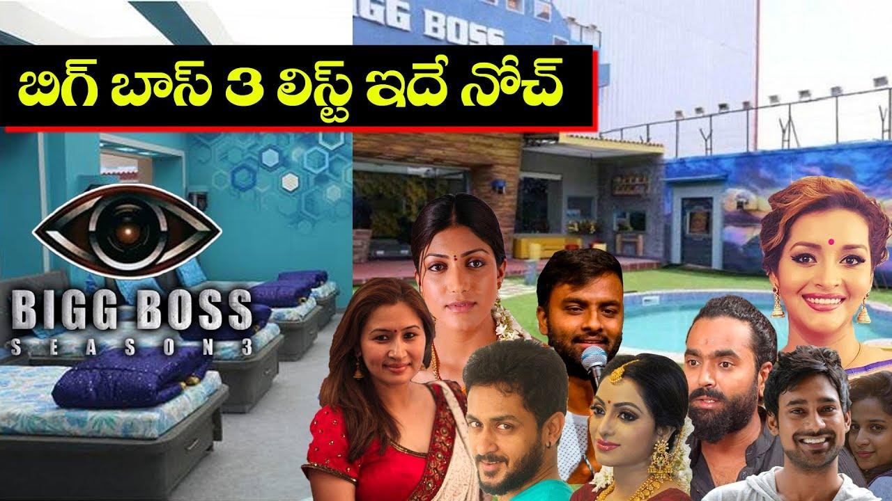 Bigg Boss Telugu 3 Contestants List | Bigg Boss 3 Telugu Contestants List |  #BiggBoss3 | TopTeluguTV