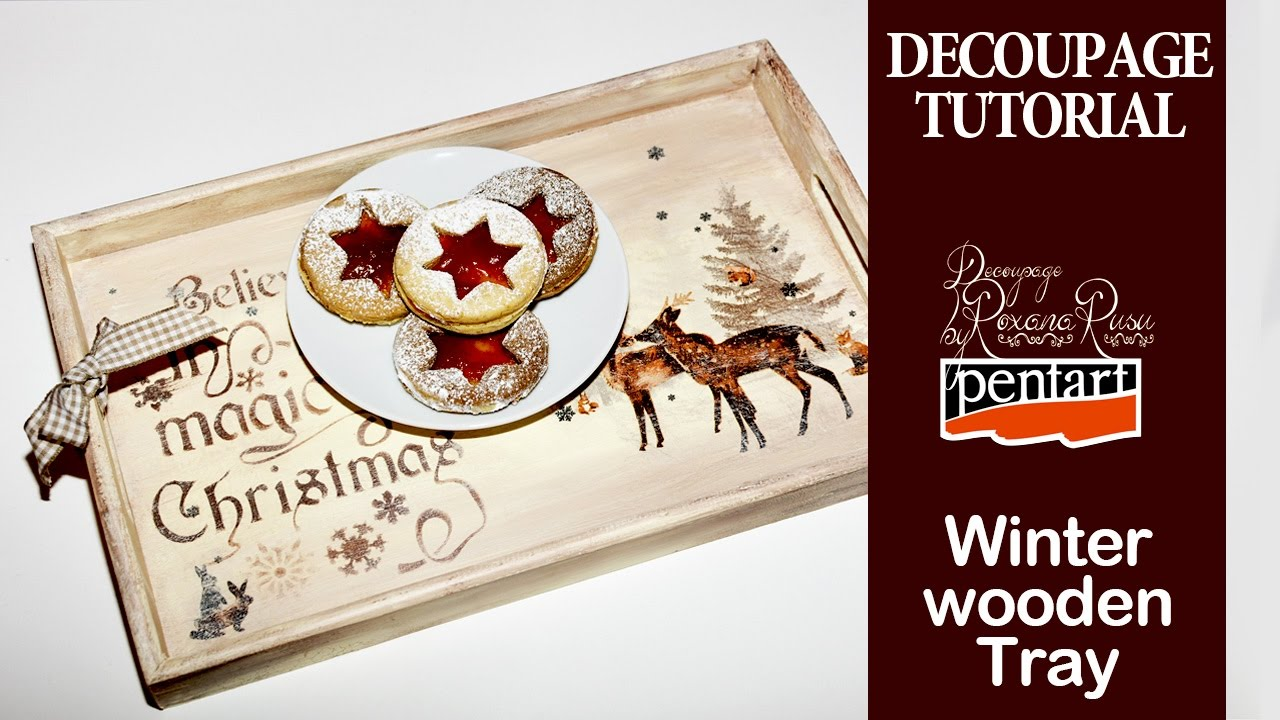 How to decoupage on wood , Merry Christmas winter tray decoupage tutorial  with Pentart dekor paint