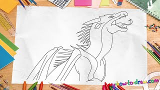 How to draw Wings of Fire Dragons - Starflight - Easy step-by-step drawing lessons for kids