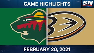NHL Game Highlights | Wild vs. Ducks - Feb. 20, 2021