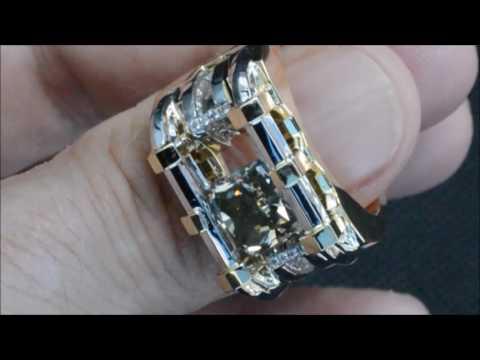 GIA certified natural fancy grey diamond, custom 18K gold mens ring