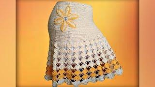 Как связать юбку  крючком, для начинающих. Crochet  fashion skirt. Subtitles.