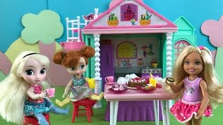 Tea Party! Elsa and Anna at Barbie Chelsea's Club House! Games Chocolate Cake Ice Cream Bubbles!