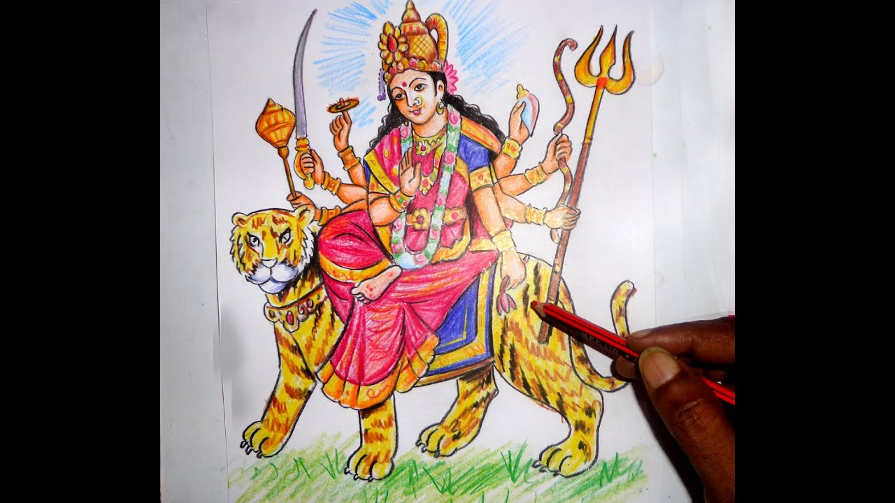 How to draw devi durga navaratrulu bhavani color drawing youtube