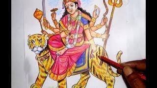 How to Draw DEVI DURGA NAVARATRULU BHAVANI COLOR Drawing