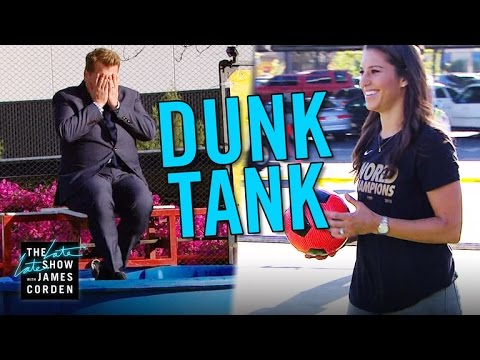 Carli Lloyd Kicks Soccer Balls at Dunk Tank