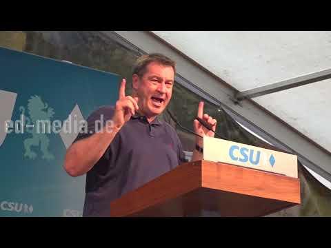 Markus Söder spricht im Festzelt in Schwabach Limbach zur Landtagswahl in Bayern 2018