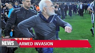 Greek Super League halted as armed PAOK Salonika owner invades pitch