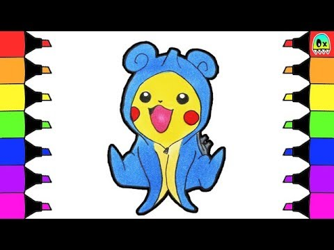 How to draw and color Pokemon Pikachu in Lapras costume I ...