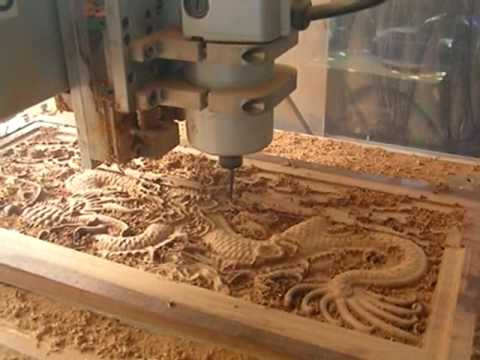 CNC Router Cutting The Wood Dragon Mad From Hardness Wood From