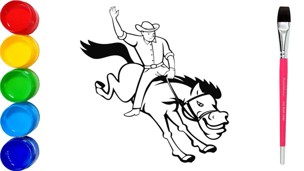 how to draw rodeo coloring pages  rodeo cowboy riding