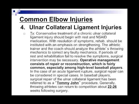 Elbow Injuries Video Lecture