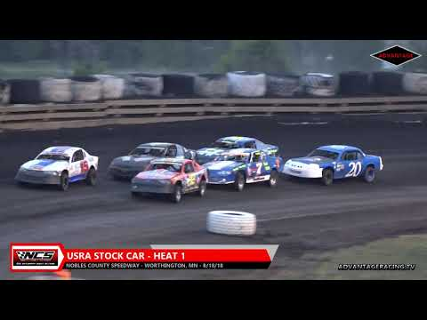 A-Modified/Stock Car Heats - Nobles County Speedway - 8/18/18