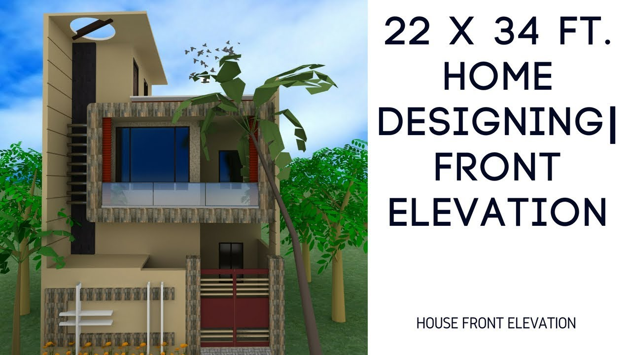 22 X 34 Ft Home Designing | Front Elevation - YouTube