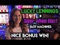 Trying Lucky Lemmings Slot Machine Nice WIN! Wheel Blast Max Bet Bonus!