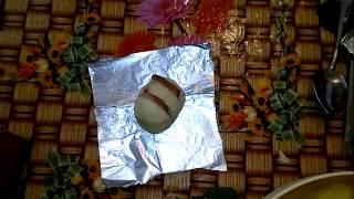Картошка в фольге салом,как завернуть
