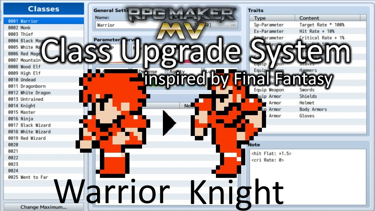 RPG Maker MV Class Upgrade System