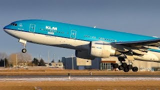 KLM Asia Boeing 777-200ER Landing and Takeoff at Calgary Airport