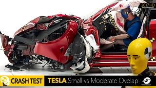 2016 Tesla Model S - SMALL vs MODERATE IIHS CRASH TEST CAR