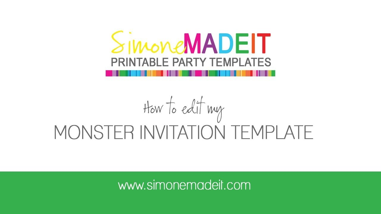 Editable Monster Invitations for your Monster Birthday ...