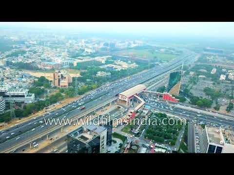 Gurgaon aerial view of Delhi NCR development: dizzying traffic and buildings