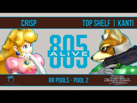 805 Alive - Crisp (Peach) VS Top Shelf | Kanti (Fox) - SSBM - RR Pools (Pool 2)