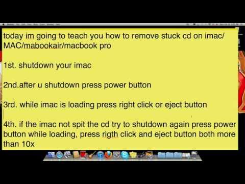 How To Remove Stuck CD From iMac / MACBOOK AIR /MACBOOKPRO (HD) 100% Works!!