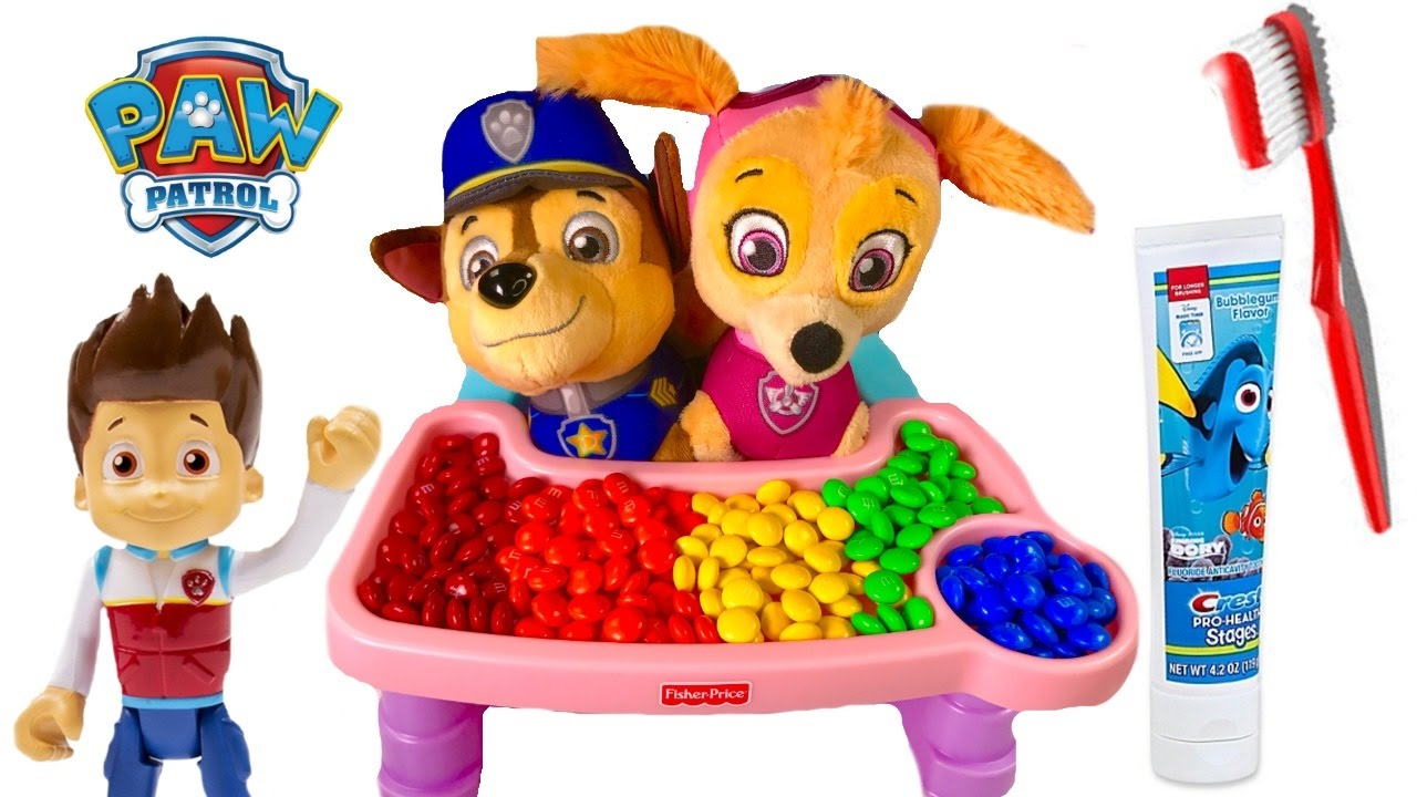 paw-patrol-skye-chases-baby-puppies-eat-colorful-m-s-toys-learning-colors-for-children