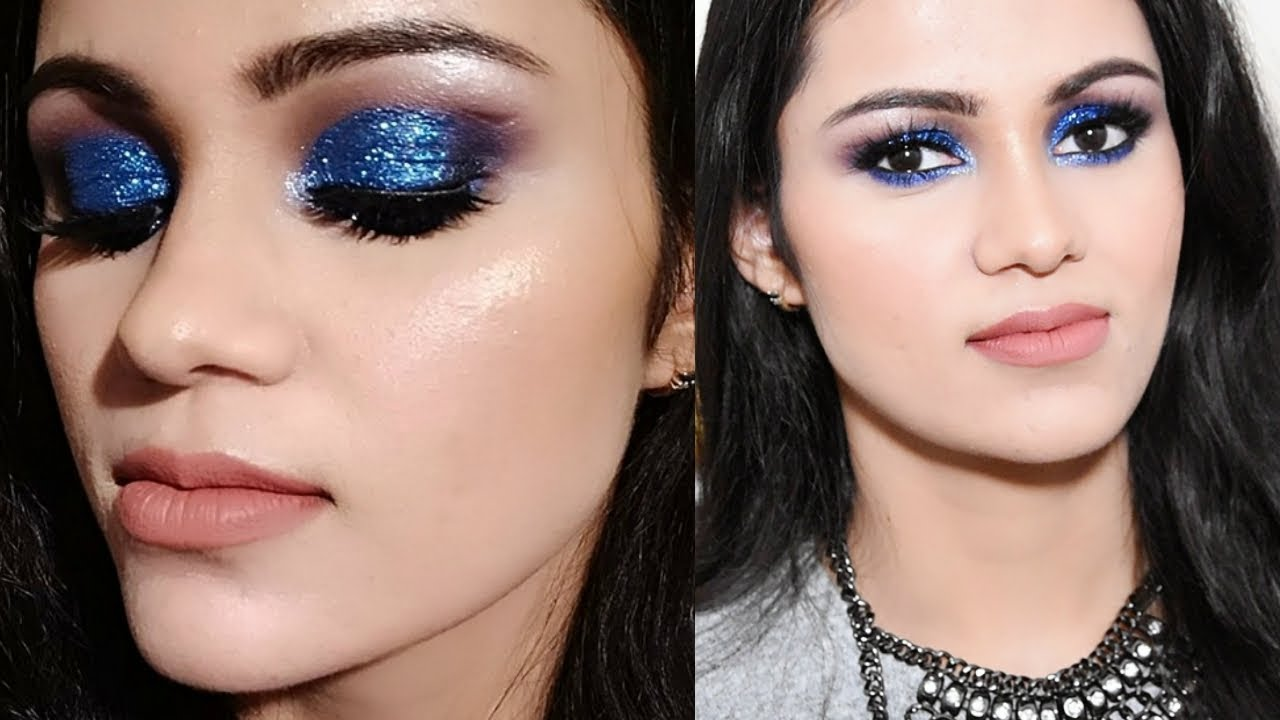 NEW YEARu0026#39;S EVE PARTY Makeup 2018 In HINDI| GLITTERY Blue Smokey Eye - YouTube