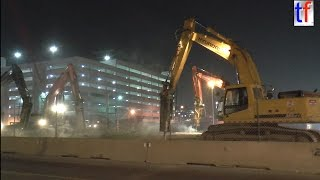Detroit Bridge Demolition I75, Woodward Ave for the M-1 Rail, 10/25/2014.