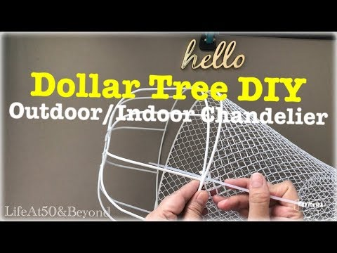 DOLLAR TREE DIY OUTDOOR INDOOR HANGING LIGHT CHANDELIER EASY starts at $3