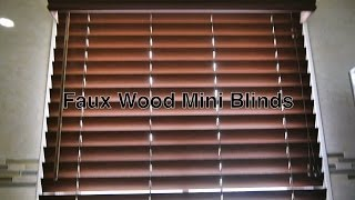 Faux Wood Blinds W/ Vinyl Mini Blind Valence As Bathroom Window Treatments & Not Curtains