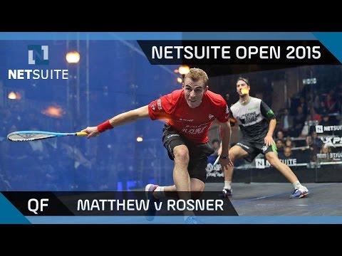 Squash: NetSuite Open 2015 Quarter-Final Highlights - Matthew v Rosner