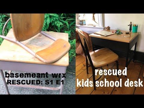 Refinished Vintage Kids School Desk - RESCUED Season 1 - Episode 1