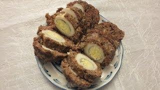 котлеты  мясные с яйцом бычий  глаз в духовке HOW TO MAKE SCOTCH EGGS   VIDEO RECIPE(рецепт вкусных котлет: мясные с яйцом под названием