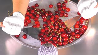 ASMR - how to make Cherries to Ice Cream Rolls  Food Recipe with relax tapping &amp scratching Tingles