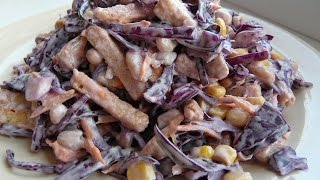 """ВКУСНЫЙ салат быстрого приготовления """"Хрустящий"""". Салаты рецепты на праздничный стол"""