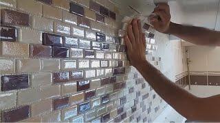 Fayans ustası ndan cam mozaik nasıl döşenir.!