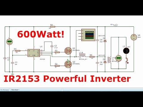 Power Inverter with IR2153 | 600Watt | 12-220V