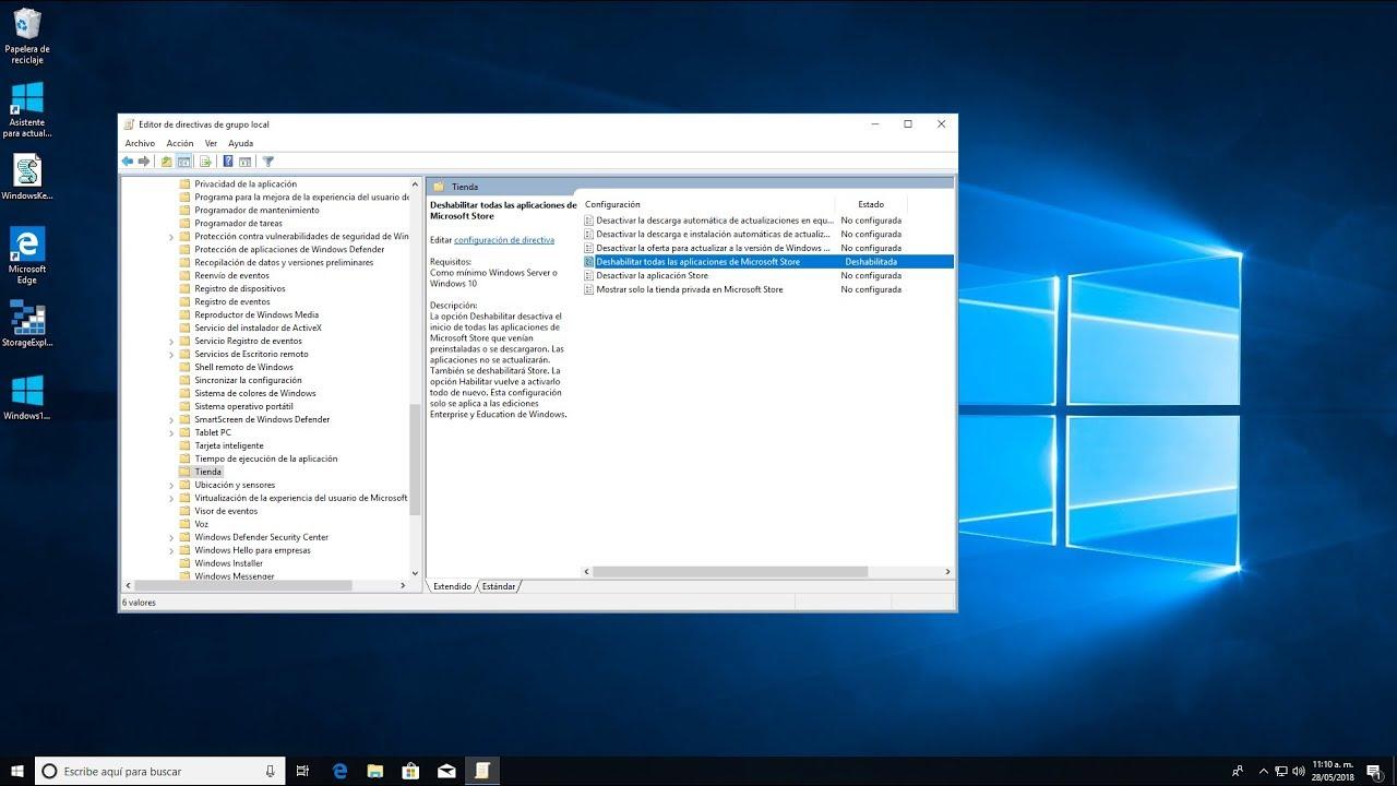 Deshabilitar todas las aplicaciones de Microsoft Store en Windows 10 April  2018 Update