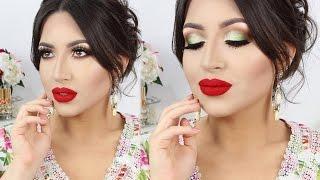 new years makeup tutorial sparkly glam smokey eyes red lips melissa samways