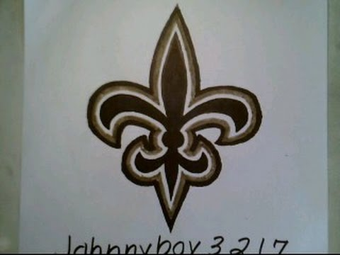 How To Draw New Orleans Saints Logo Sign Easy Step By Step Tutorial
