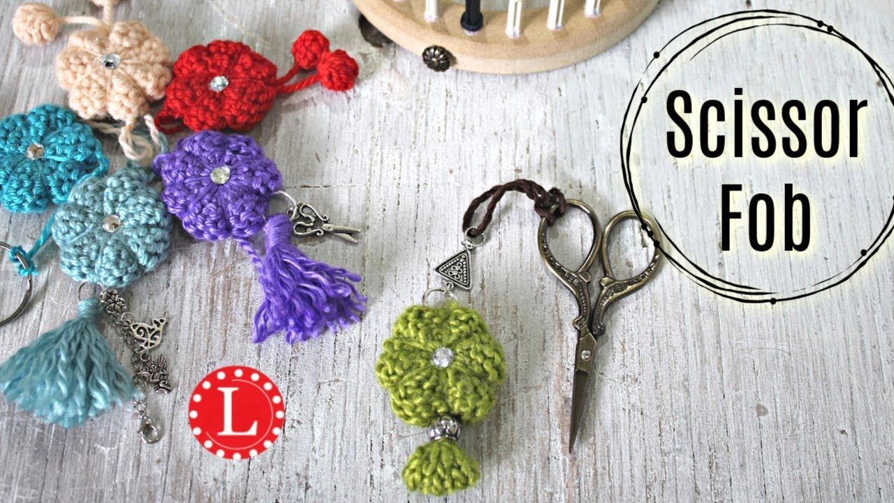 LOOM KNITTING Gift Idea - Fob for Your Scissors or Keys (Round Loom ...